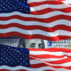 Waving American Flags And One Hundred US Dollar Bill